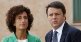 Italy's PM Renzi and wife Agnese looks on at Ciampino airport following landing of Sudanese Mariam Yahya Ibrahim in Rome